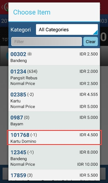 Make Stock Request Transaction step 5 - Choose Item iREAP POS