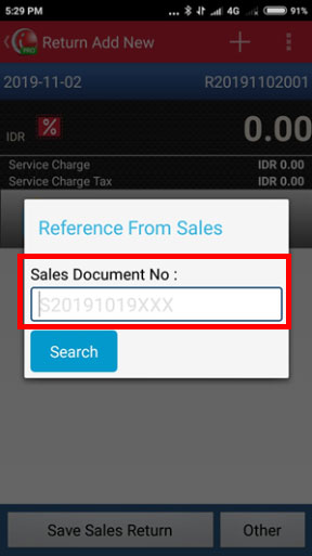 Create Sales Return in iREAP POS PRO - Input Sales Document No