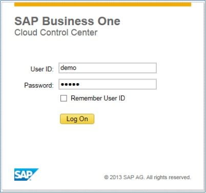 iREAP POS Integration SAP Business One Hana on Cloud - Logon SAP Business One Hana on Cloud