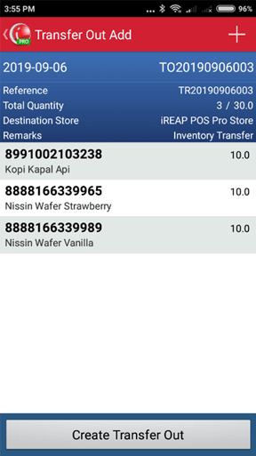 Create Stock Transfer Out to Confirm Transaction on iREAP POS PRO