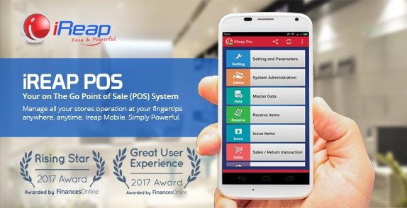 iREAP POS Award 2017 Rising Star and Great User Experience by Finance Online